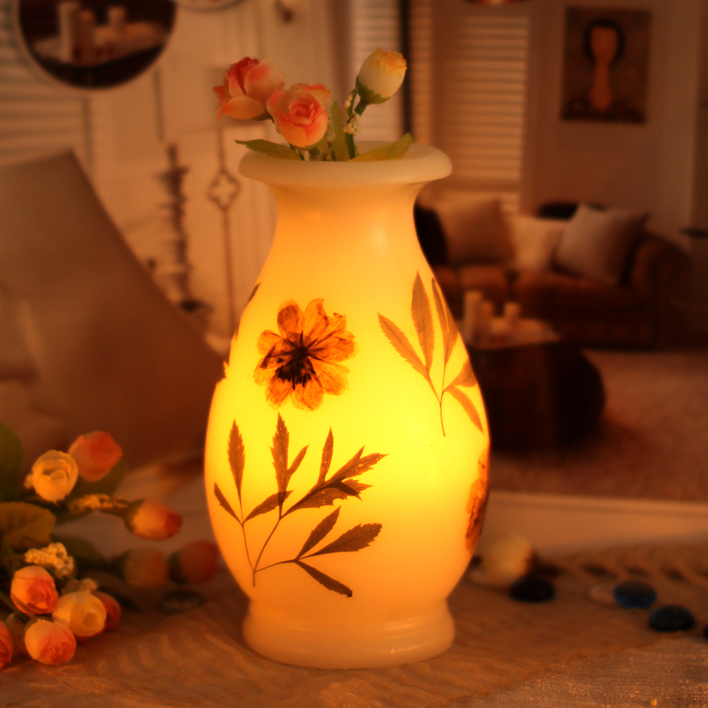Vase Shaped Flameless Real Wax LED Candle with Timer