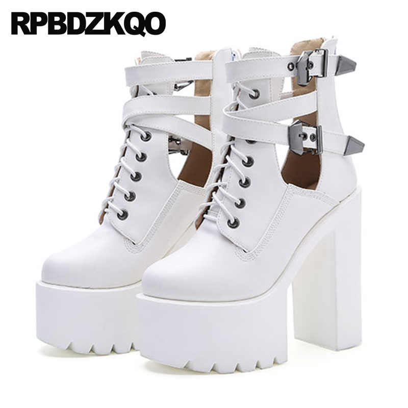 255ff574f489 Fall Shoes Rock White Booties Extreme Belts Chunky Black High Heel Ankle  Lace Up Women Zipper