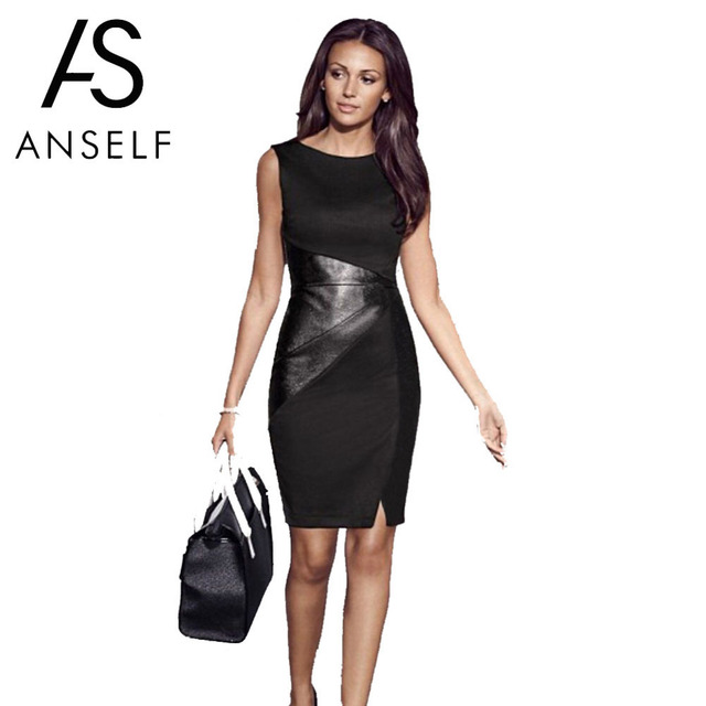 US $7.91 43% OFF|Anself 5XL Plus Size Women Bandage Dress PU Leather Splice  O Neck Midi Bodycon Dress Sleeveless Elegant Slim Party Dress Black-in ...