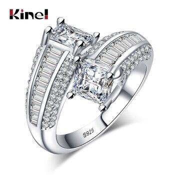 Kinel 2017 lujo tamaño grande 3 CT corte cojín Zirconia cúbica mujeres anillo de boda plomo y níquel anillo de Color plata para las señoras