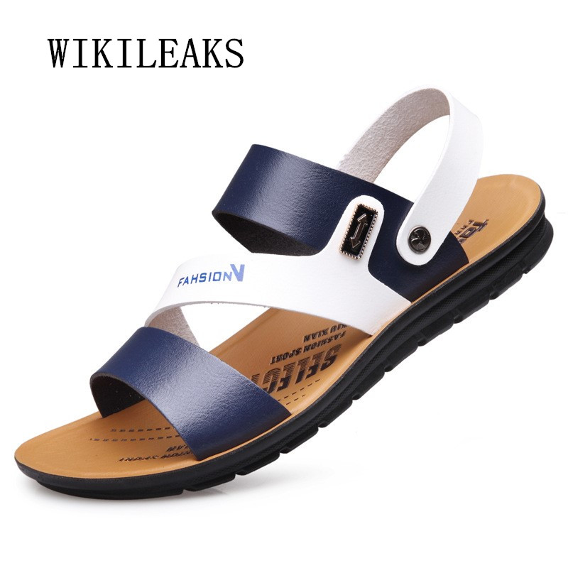 men sandalias summer beach sandals luxury brand casual shoes sapato masculino leather shoes men flat slippers zapatos hombre