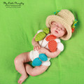 Crochet  fisherman costume Photo props  for newborns infant outfit knit fish hat+fishes  photography fantasias para fotos bebes