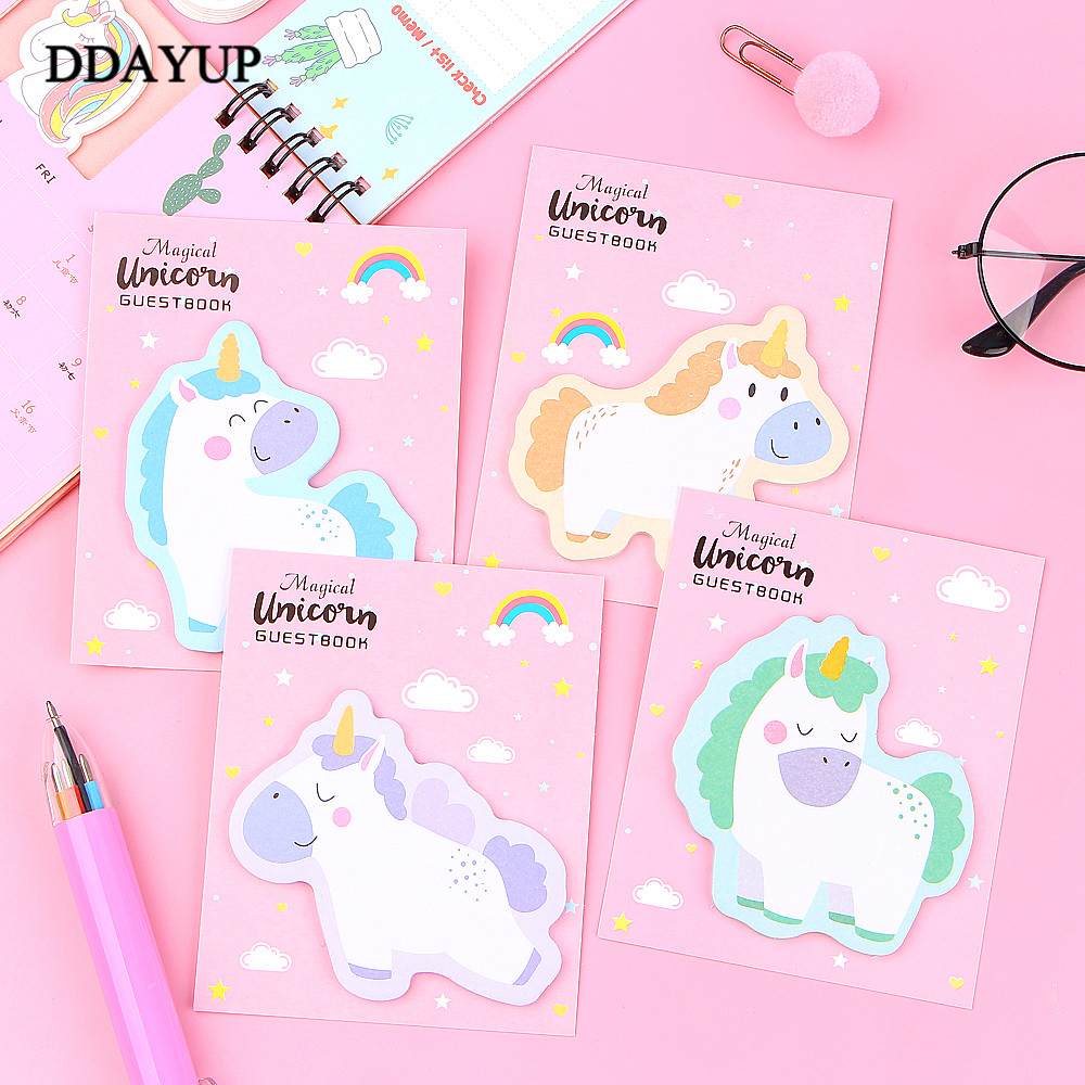 30 Sheets/pcs Memo Pad Rainbow Unicorn Sticky Notes Creative Post Notepad DIY Memo Pad Office Supplies School Stationery