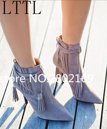 Free Shipping Fashion Fringe Beige Suede Leather Ankle Zipper Pointed Toe High Thin Heels Shoes Women Fall Spring Short Booties