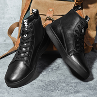 SUROM Brand Winter Boots Men Plush Warm Leather Lace Up Casual Shoes Men Fashion Sneakers Comfortable Male Shoes Black Classic