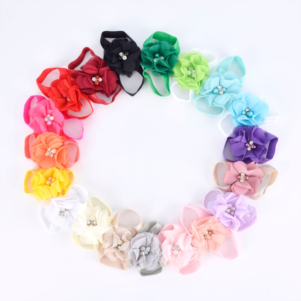 Baby Barefoot Sandals With Chiffon Flower Newborn Sandals Baptism Shoes Baby Girl Shoe Photo Props Birthday Shoes Newborn To 2T