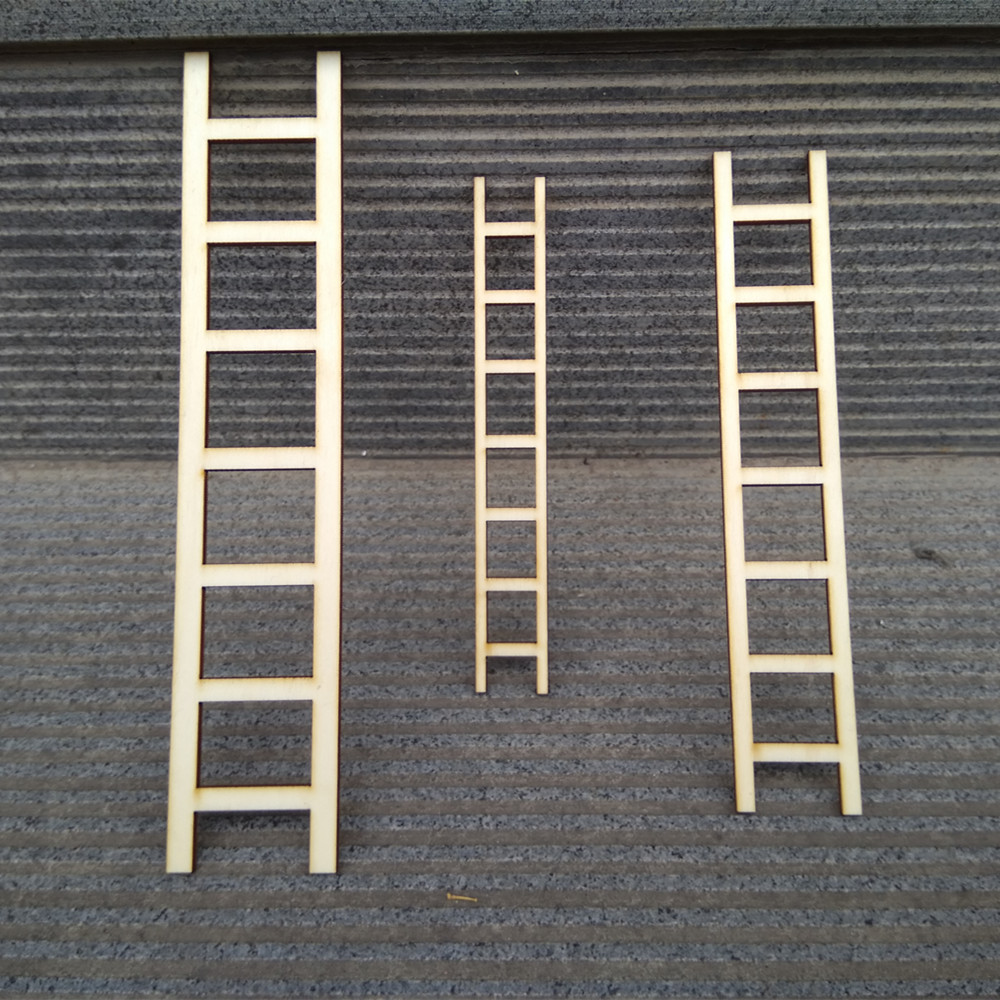6pcs 3 Sizes Wooden Ladder Fairy Ladder Doll House Craft