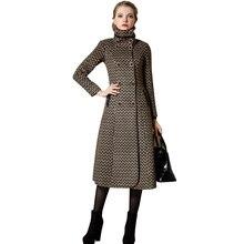 Women Winter Long Houndstooth Wool Coats 2016 New Plus Size Double Breasted Turtleneck Overcoat Casaco Feminino 1527