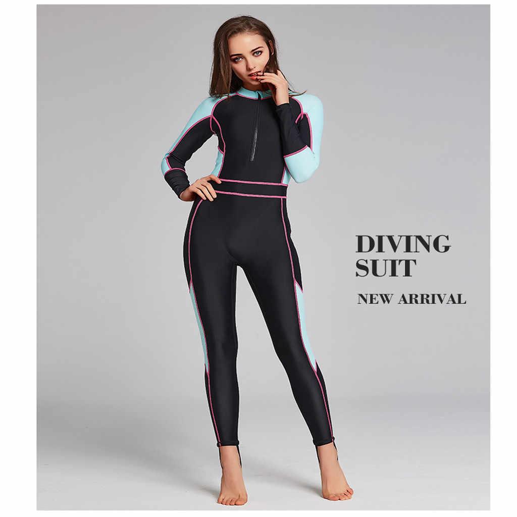Womail Baru Wanita Satu Potong Pakaian Selam Lengan Panjang Tabir Surya Hangat Pakaian Menyelam Surfing Pakaian