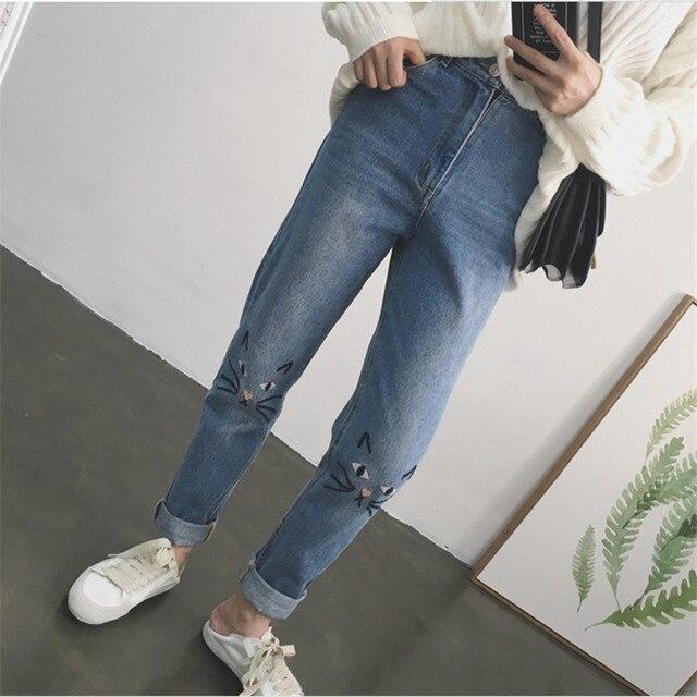 2017 Корейская версия Ретро Высокой талии расслабленной свободные Кошка Вышитые Джинсы женские Модные джинсы