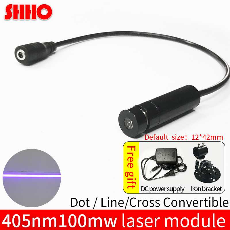 цена на High quality 405nm 100mw blue violet line laser module line width adjustable industrial positioning production marking location