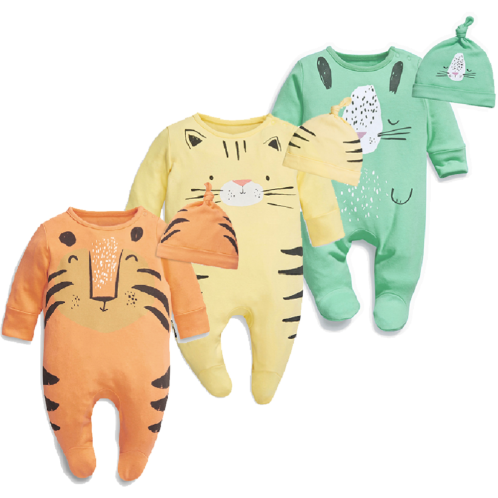 Baby Boys Girls Tiger Cat Lion Animals Cartoon Footed Jumpsuit Romper Onesies with Hat