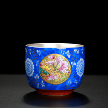 лучшая цена Silver Cup 99 Silver Teacup Ceramic Silver Medium Butterfly Love Cup Enamel Household Teaware Master Cup