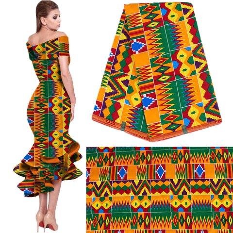 Tecido de Cera Qualidade para Vestido Royal Batik Imprime África Tecido 100% Algodão Ancara Kente Holandês Real Melhor Festa 6 Jardas 2019 Wax