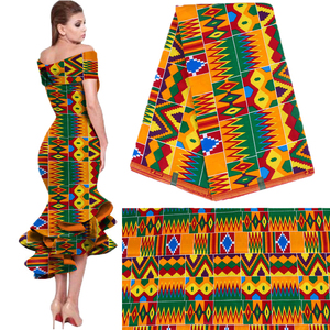 Image 1 - 2020 Royal Wax Batik Prints Africa Fabric Pagne 100% Cotton Ankara Kente Real Wax Tissu Best Quality For Party Dress Handmake