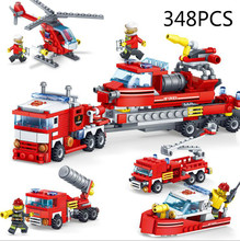 348pcs Fire Fighting 4in1 Trucks Car Police station Helicopter Boat Building Blocks Compatible All city children Toys