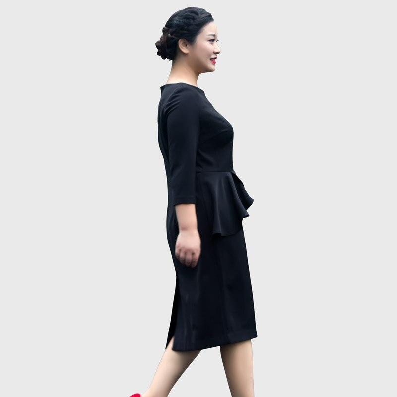 CUSTOMIZE Spring New Vestido Women Casual Plus Size Bodycon Peplum Dress Ladies Faux Two Piece Slim Fit Ruffle Decoation Drsses