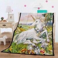 Unicorn Blanket Girls White Unicorn in Green Grass Floral Woodland Yellow/Green Fleece Blanket Black Sherpa Blanket 150x200cm