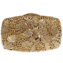 Flower Design Full Golden Crystals Ladies Metal Evening Bag Bridal Party Clutches 50 CM Shoulder Chain Gift Box Packing