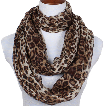 2019 New Fashion Foulard Femme Super Longer Ring Women Scarf Brown Leopard Print Polyester Infinity Loop Warm Scarf dg1043-220 2019 fashion women s voile infinity scarves lightweight elegant various floral print polyester ring thin sheer loop small scarf