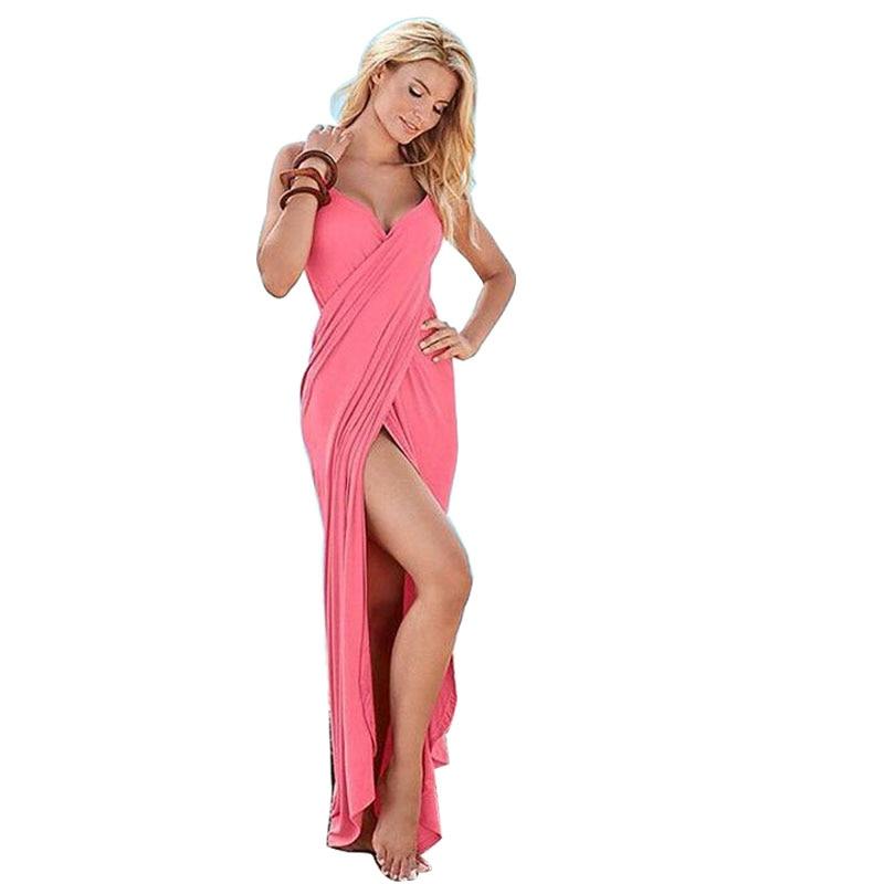 Beach Dress long Solid Fashion Beach 2018 Summer Loose Womens New Long Maxi Dress Backless Sexy Sleeveless Women Dresses Red