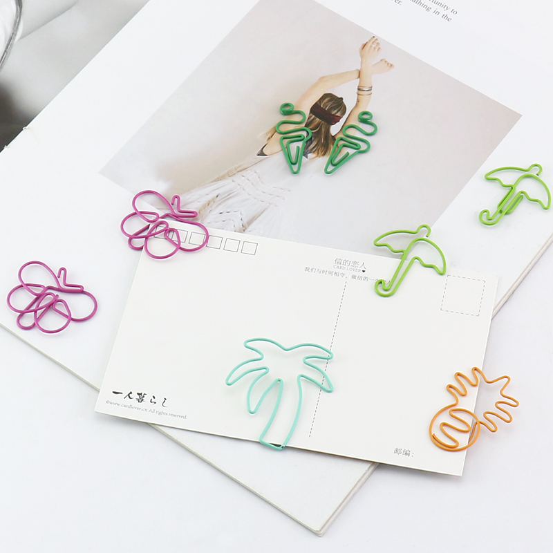 TUTU Lovely Shape Paper Clip Butterfly Coconut Tree Pineapple Ice Cream Umbrell Funny Bookmark Marking Clips H0231