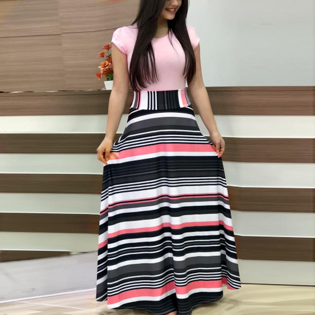 Women Summer Short Sleeve Floral Printed Sundress Casual Swing Dress Maxi Dress