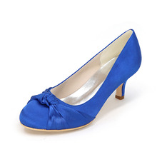 Lady low heel dress shoes rounded toe heels with knot elegant woman prom cocktail shoes red royal blue silver grey champagne