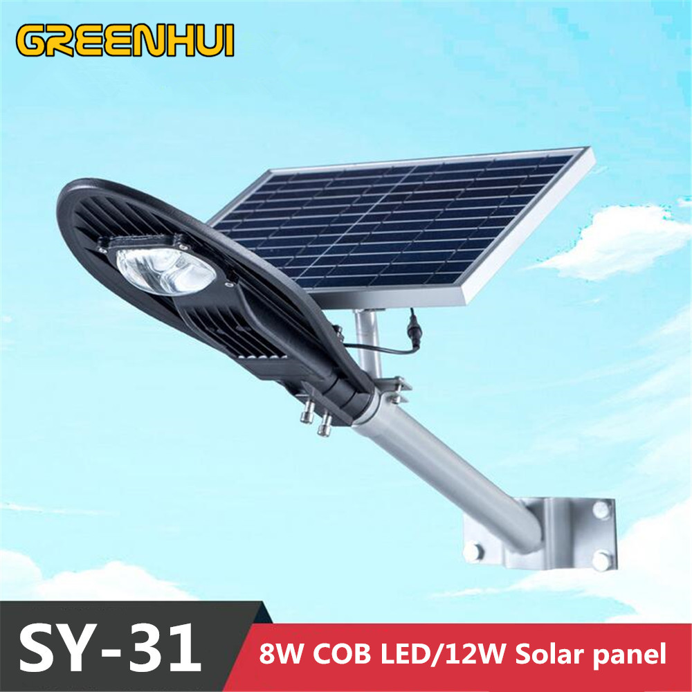 2015NEW Super Heldere 16 V 12 W Zonnepaneel Power 8 W COB LED Straat Lamp 800LM Outdoor Waterdichte Path Licht Controle Afstandsbediening