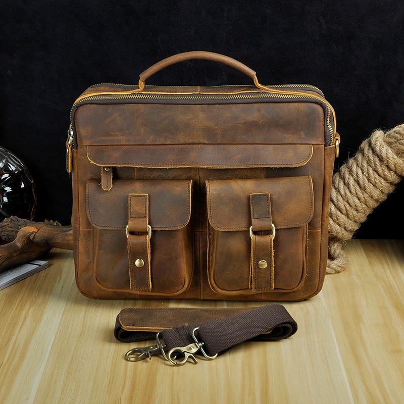 """HTB1IQvRXErrK1RkSne1q6ArVVXaD Le'aokuu Men Real Leather Antique Style Coffee Briefcase Business 13"""" Laptop Cases Attache Messenger Bags Portfolio B207-d"""