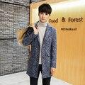 2016 Moda de Nueva Marca de Ropa Hombres de la Chaqueta de Lana Escudo Japonés y estilo coreano Abrigos de Los Hombres Chaqueta de Lana y Mezclas Abrigo de Invierno hombres