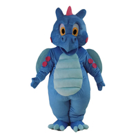 Cartoon Dragon Blue Dinosaur Mascot Costume Carnival Festival Party Dress Outfit for Adult