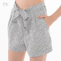 PK femme shorts 2018 geometric print beach high waist shorts black white prints feminino mujer femme side pockets women ladies