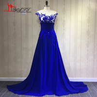 In Stock 2018 Ready For Ship Royal Blue Chiffon Long Elegant Lace Appliques Evening Prom Dresses Backless Women Party Gown