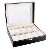 Classical Holder Foam Pad Pillow Elegant Luxury Organizer Black Leather Watch Box For Wristwatch Fashion Gift Box Storage