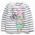 Детские девушки Футболка в полоску мультфильм граффити новая осень хлопка малышей топы детская одежда с длинным рукавом Футболки