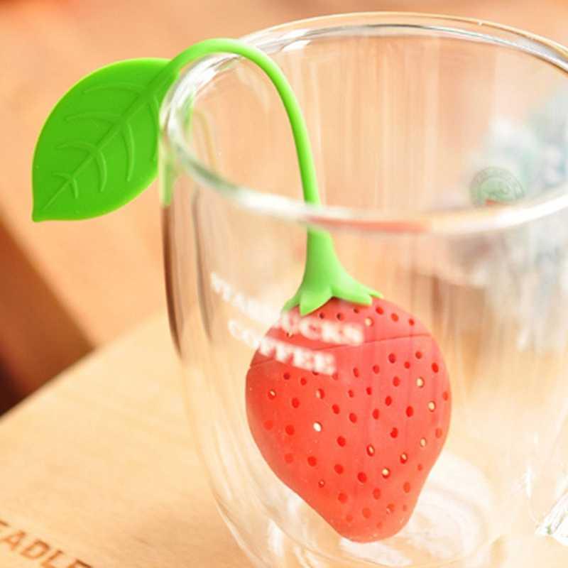 Dâu Tây silica gel ấm trà phụ kiện Silica gel lọc trà ăn được, an toàn và không độc hại