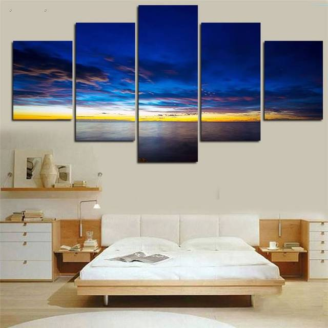 5 Paneles Hd Impresa Calmar Mar Nube Azul Arte de La Pared Impresión ...
