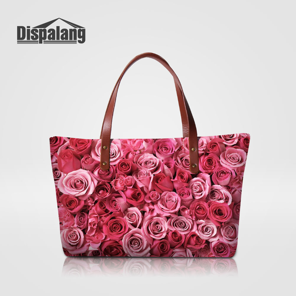 Dispalang Designer Women's Travel Shoulder Bags Red Rose Printing Ladies Wedding Totes Fashion Handbags For Teenage Girls Retail