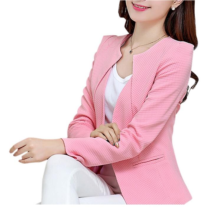 MYPF New Fashion Spring Women Slim Blazer feminino Coat Casual Jacket Long Sleeve One Button Suit White Ladies Blazers Work Wear 1