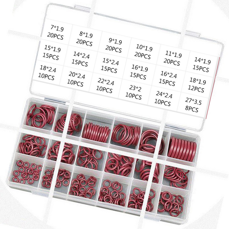 O-Ring Seal Kit Assortment Set Red R134a R12 For Car Automotive A/C Air Conditioning System HNBR Rubber