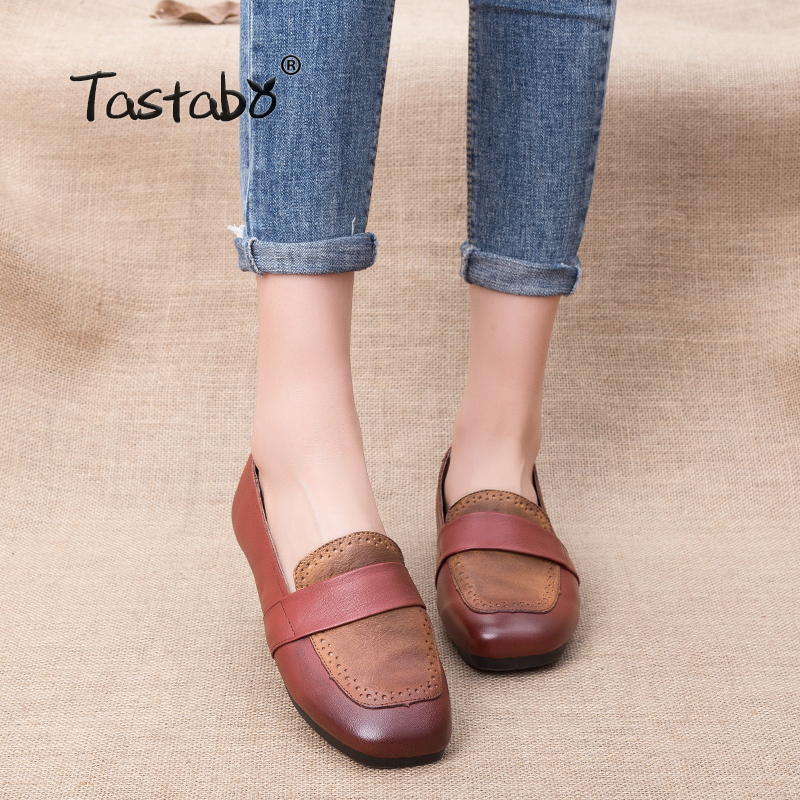 Tastabo Woman Genuine Leather Flat Shoes Fashion Hand-sewn Loafers Female Casual Shoes Women Flats Mixed colo Mom Shoes tastabo handmade autumn women genuine leather shoes cowhide loafers real skin shoes folk style ladies flat shoes for mom sapato