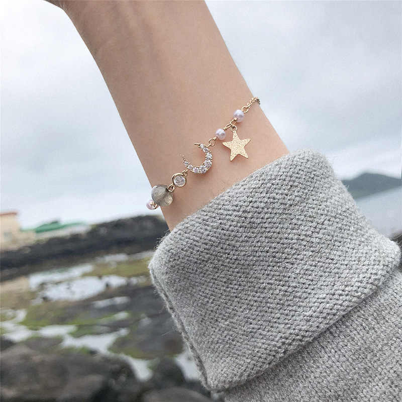 Korean Minimalist Rhinestone Star Charm Bracelets For Women Gold Chain Bracelets Bangles Korean Fashion Jewelry