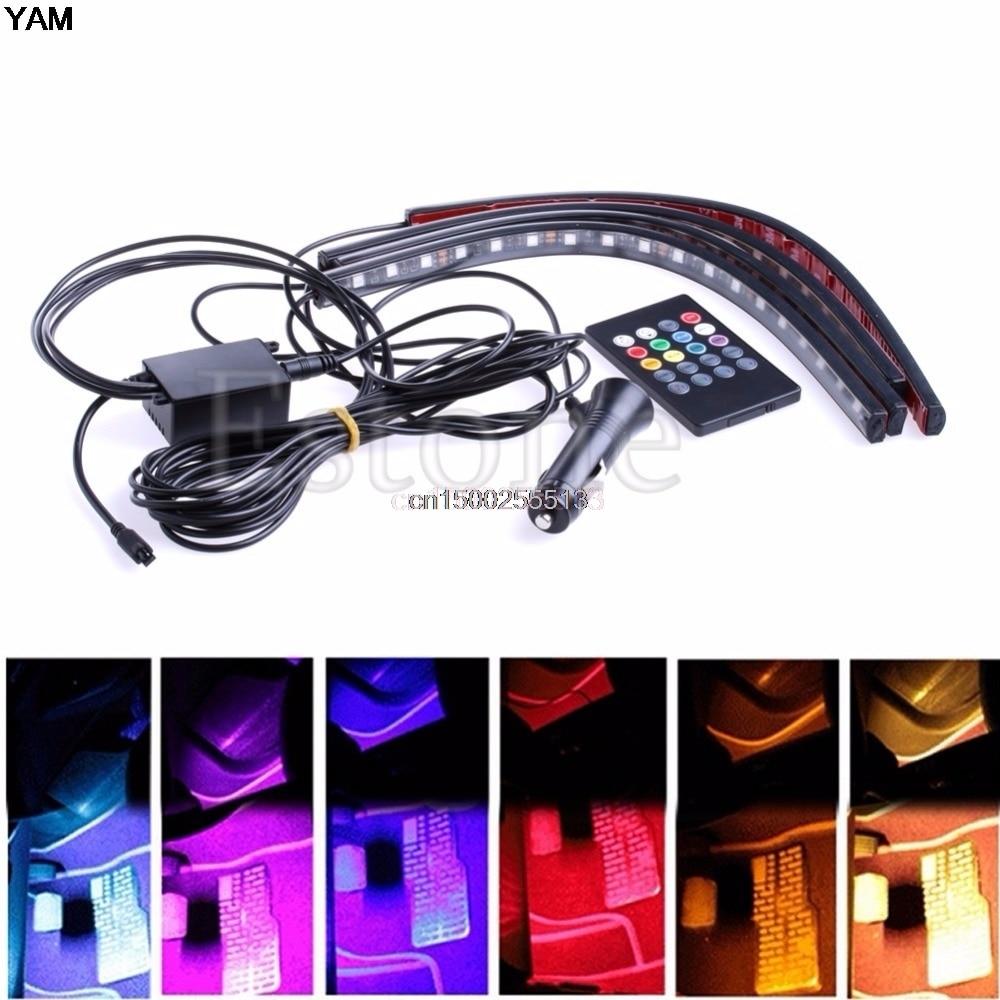 Car Interior Light Strip 8 Color Led Glow Under Dash Footwell Lighting 4pcs Kit In Led Strips