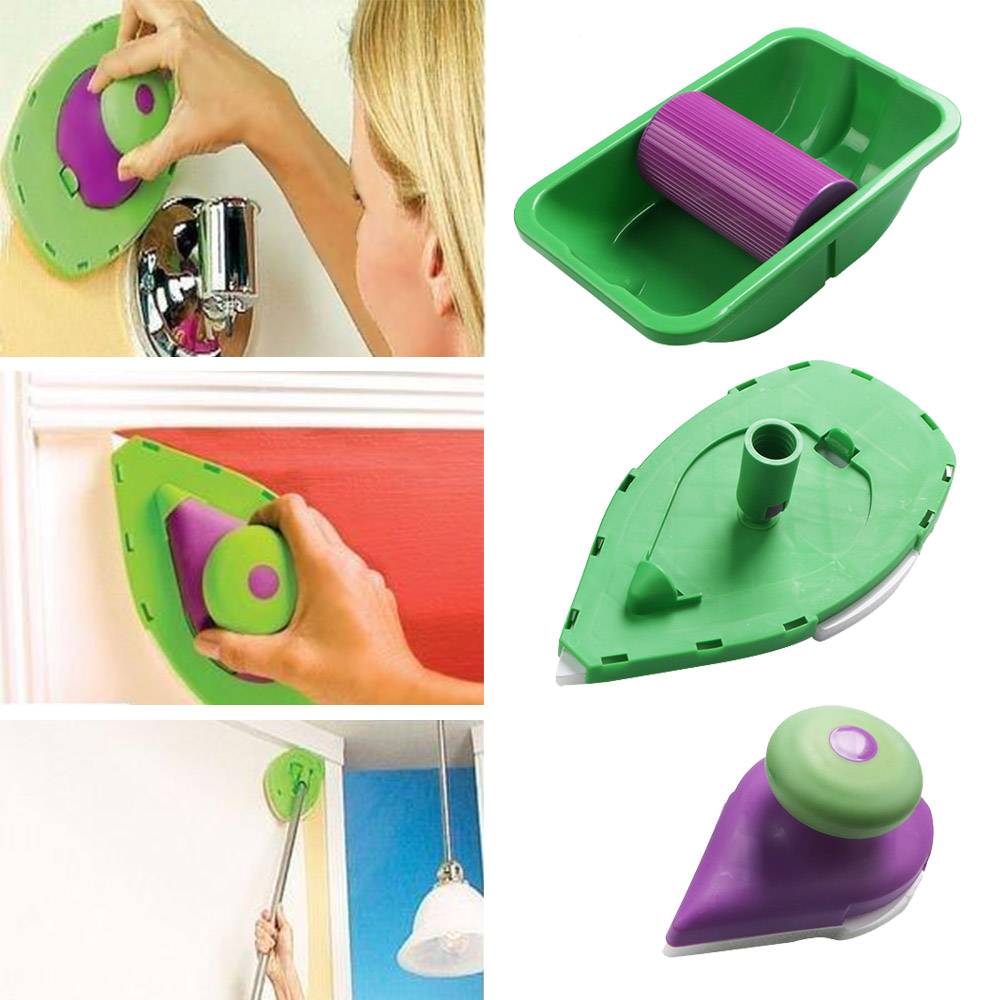 Multifunction Paint Roller And Tray Set Household Triangle Painting Tray Sponge Brush Wall Tool Green