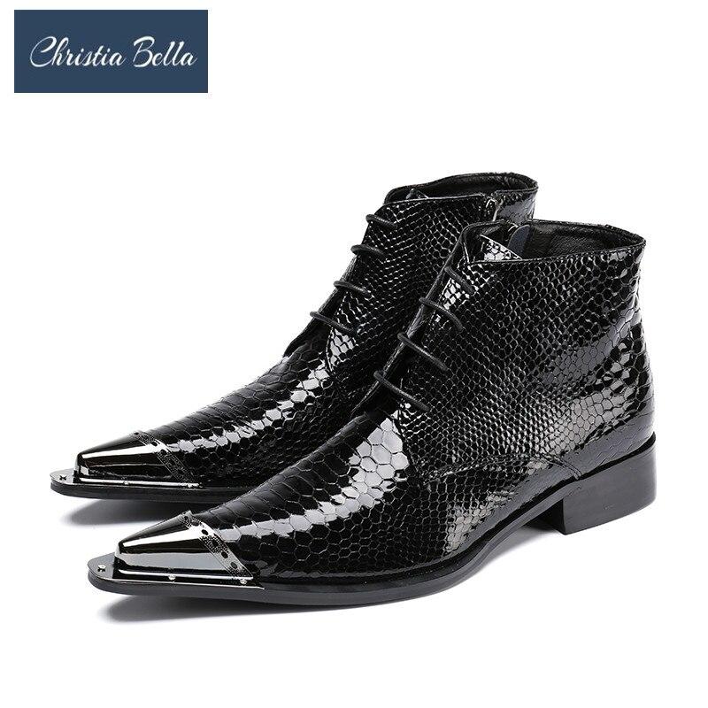 Christia Bella/зимняя обувь пояса из натуральной кожи для мужчин острый носок Мужские модельные туфли сапоги и ботинки для девочек высота