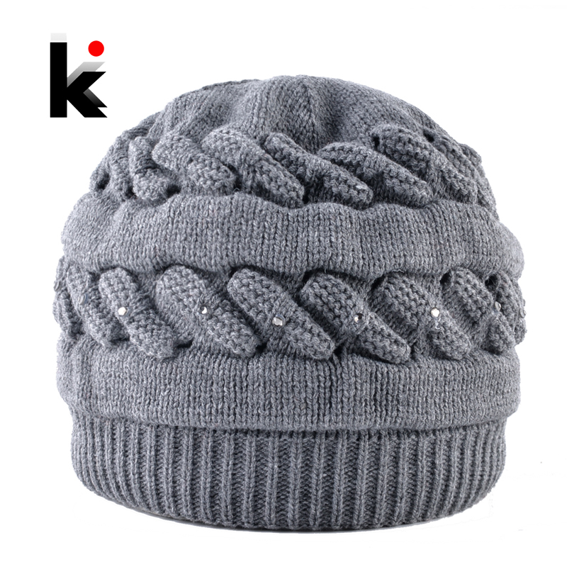 Warm Knitted   Beanie   With Rhinestones Winter Double Lining Hat For Women Fashion Knitting Plait Color   Skullies     Beanies   Ladies cap
