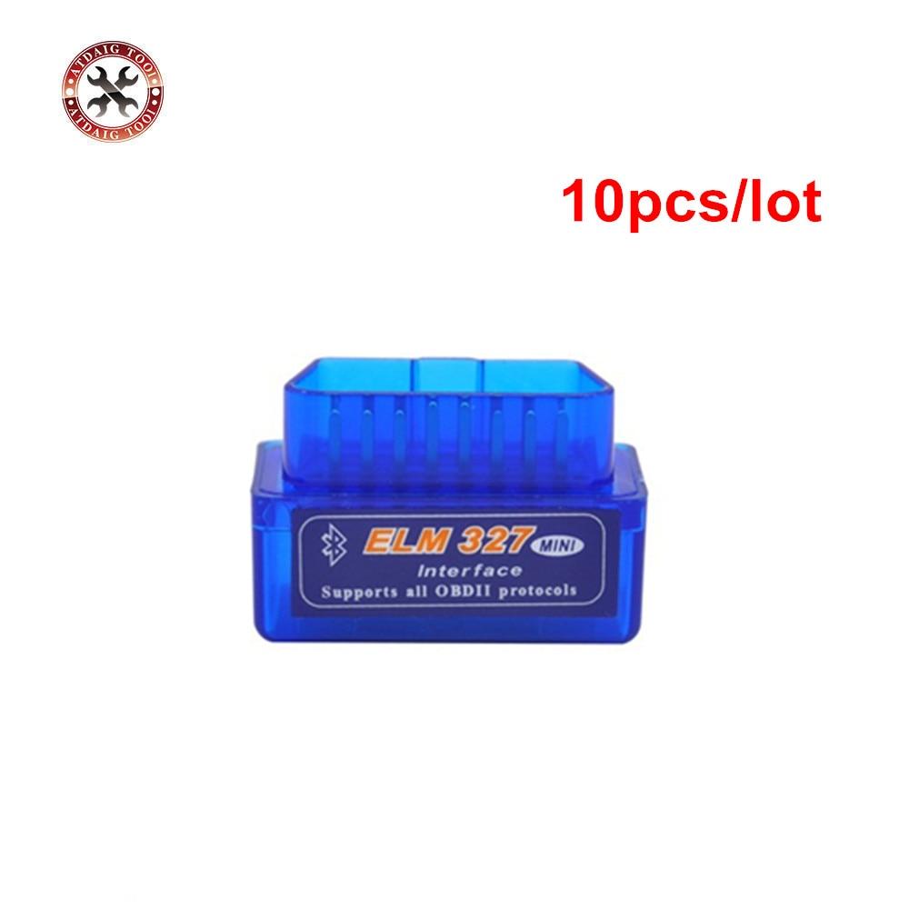Prix pour Meilleur Mini Elm327 Bluetooth OBD2/OBDII Diagnostic Interface Scanner ELM327 V2.1 Voiture Lecteur de Code Pour Les Protocoles OBDII 10 pcs/lot