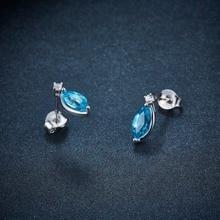 Strieborná súprava šperkov krížik MODRÝ TOPÁS náhrdelník náušnice Silver Jewelry Set