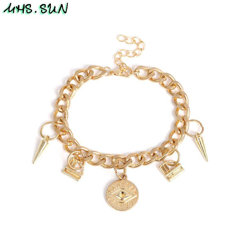 MHS 。太陽のファッション女性ブレスレット腕輪コインペンダント誇張ヨーロッパヴィンテージブレスレットゴールド/シルバー色ガールズジュエリー